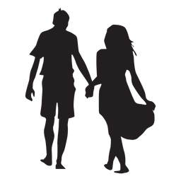 Caminando de la mano silueta de pareja