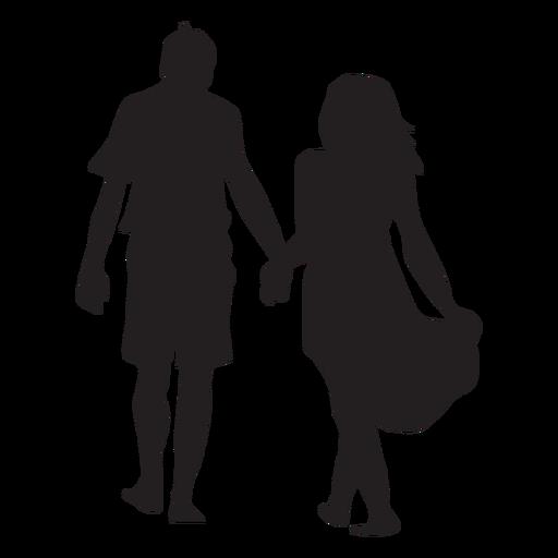 Silueta de pareja caminando de la mano