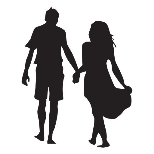 Walking hand in hand couple silhouette