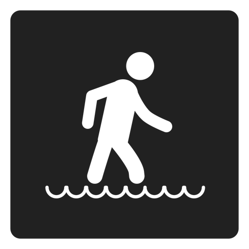 Walking in the water square icon Transparent PNG