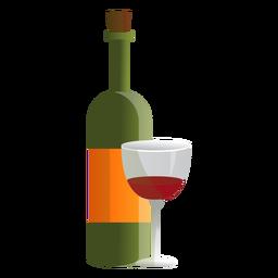 Ilustración de botella y vaso de vino