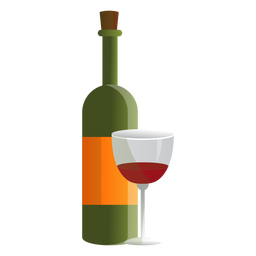 Wine bottle and glass illustration