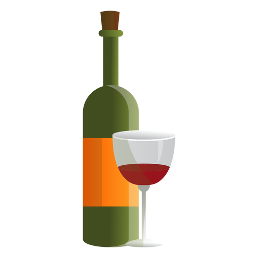 Wine bottle and glass illustration Transparent PNG