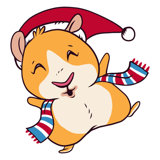 Winter dressed guinea pig cartoon Transparent PNG