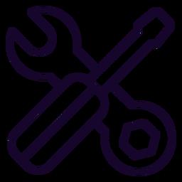 Ícone de traço chave inglesa e chave de fenda