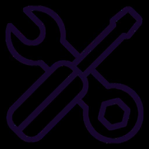Icono de trazo de llave y destornillador Transparent PNG