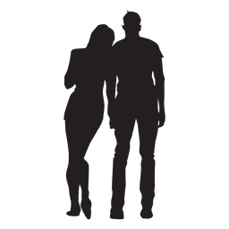 Young couple silhouette couple