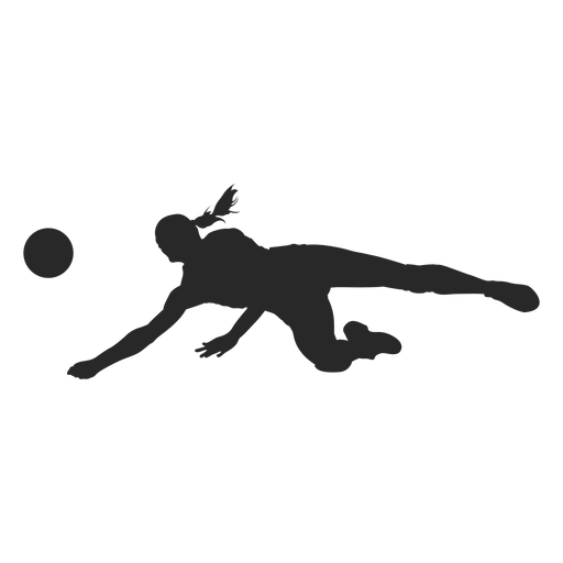 Volleyball dig position silhouette Transparent PNG