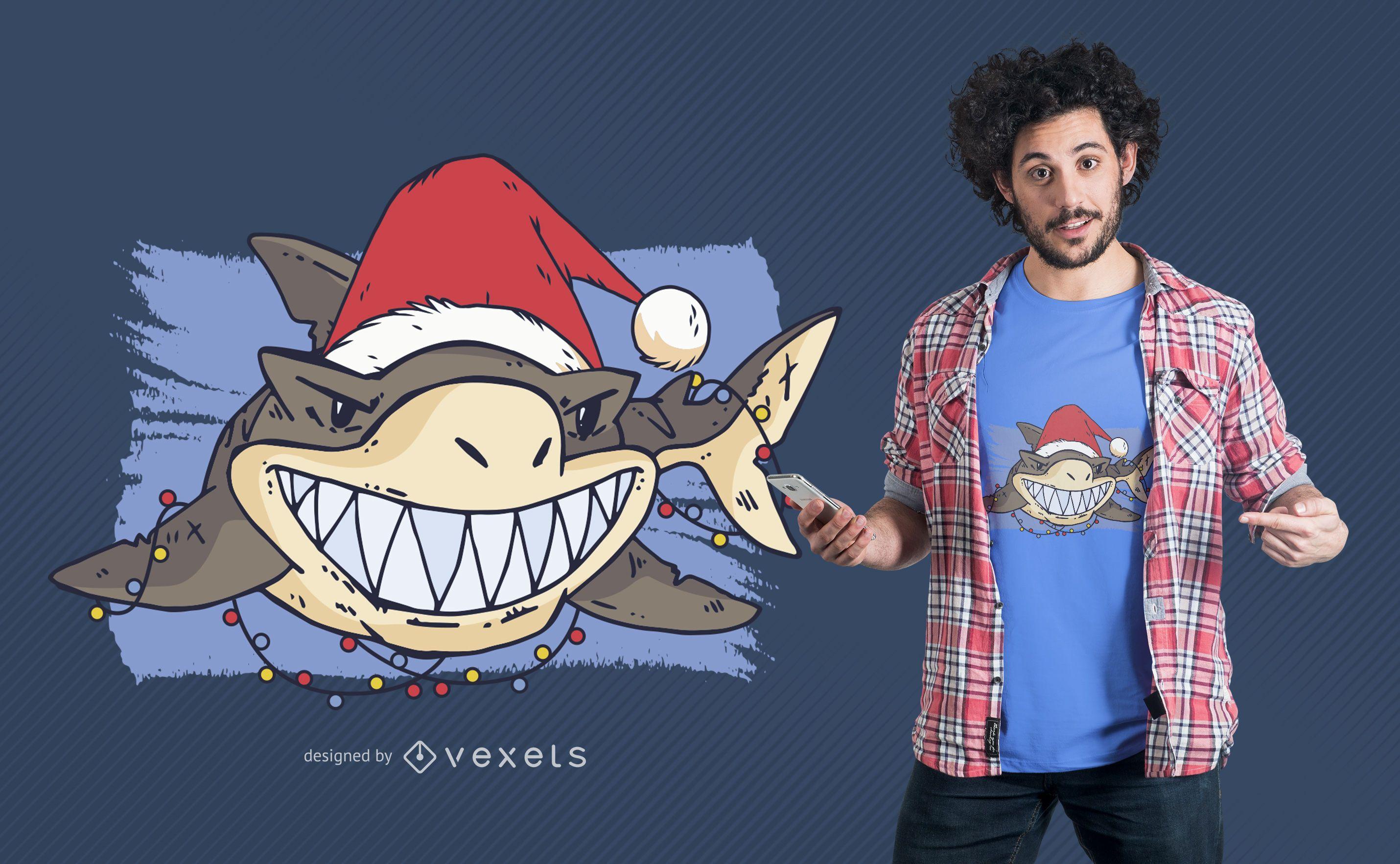 Diseño de camiseta de tiburón navideño