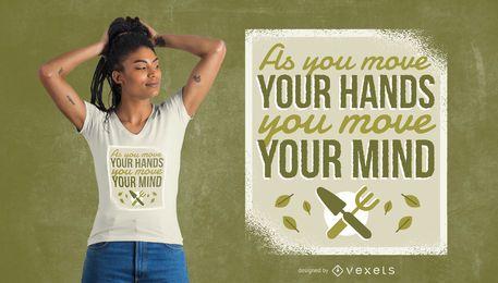 Diseño de camiseta de manos de jardinería