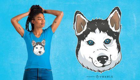 Diseño de camiseta de Husky ilustración
