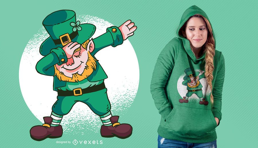 Dabbing Leprechaun T-Shirt Design