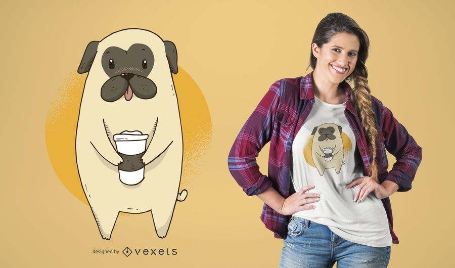 Diseño de camiseta Coffee Pug