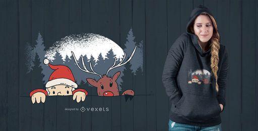 Weihnachtsmann und Rentier T-Shirt Design