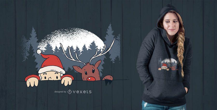 Diseño de camiseta de Santa y Reno