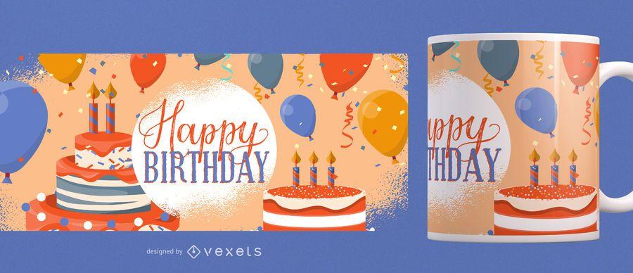 Diseño de la taza del feliz cumpleaños