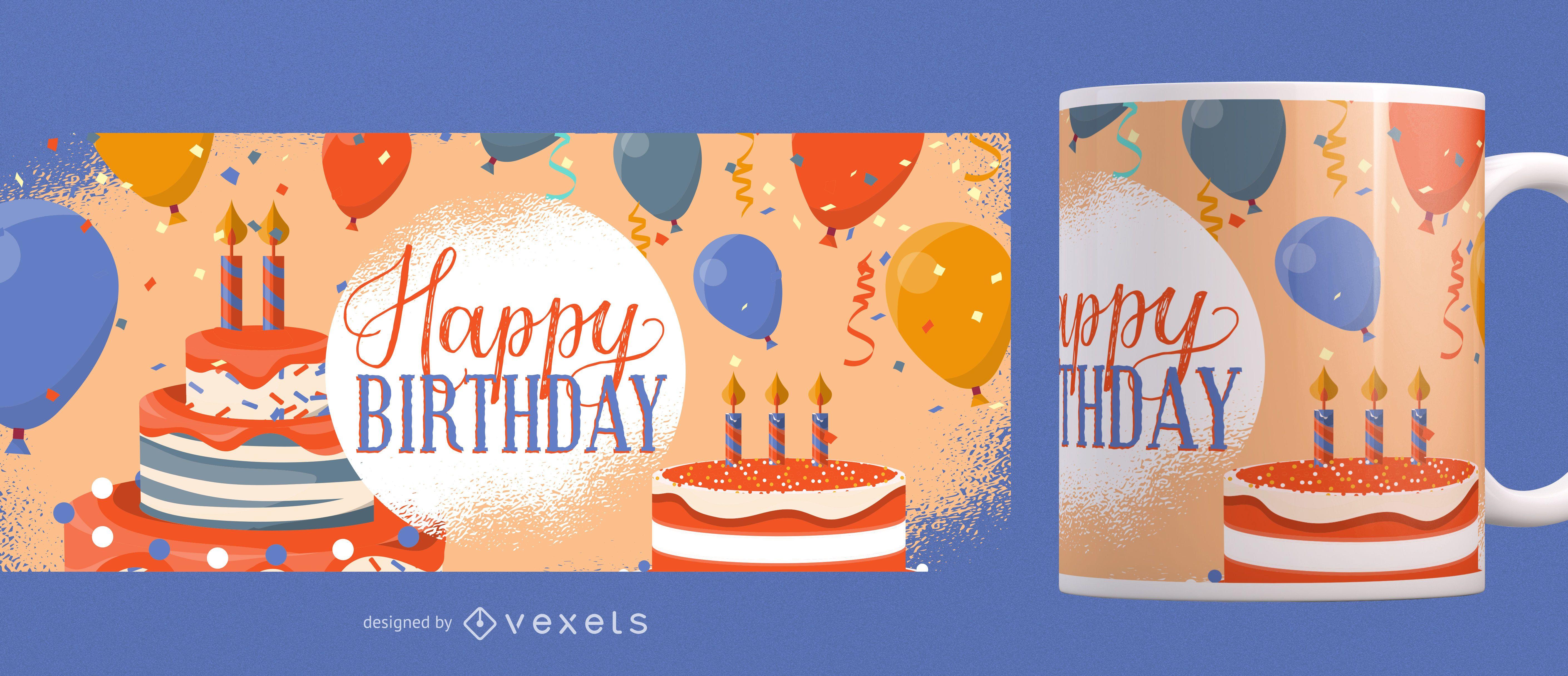 Diseño de taza de feliz cumpleaños