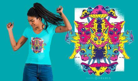 Diseño de camiseta de gatos trippy
