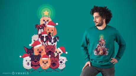 Diseño de camiseta perro árbol de navidad