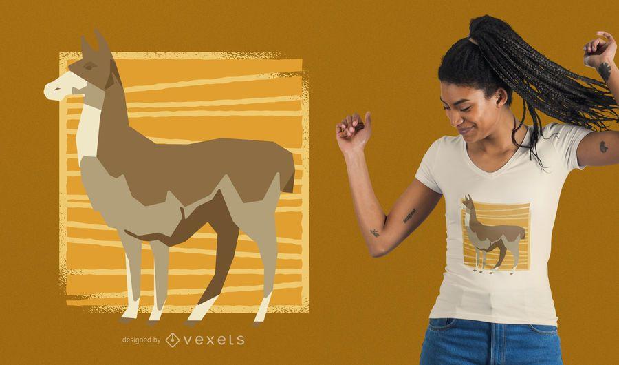 Design de t-shirt Low-Poly de lhama