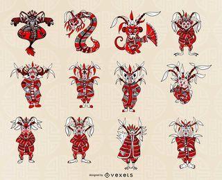 Chinesisches Horoskop-Set