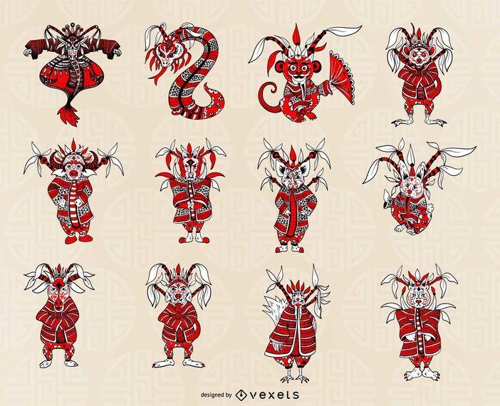 Conjunto de horóscopo chino