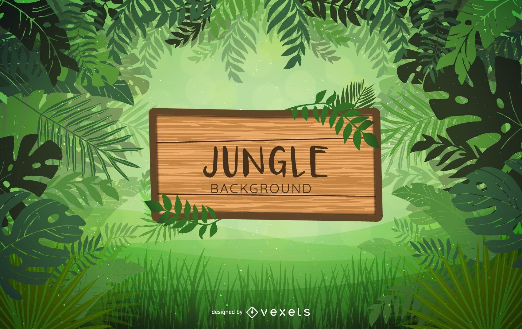 Diseño de fondo de etiqueta de selva