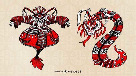 Chinesische Oper Charakter Design