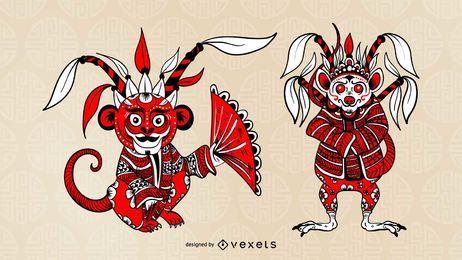 Chinesischer Opernzeichensatz