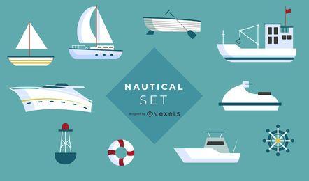 Conjunto de iconos de barco náutico