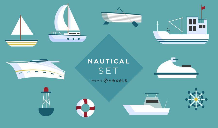 Conjunto de ícones de barco náutico