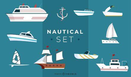 Nautische Illustration Set Design