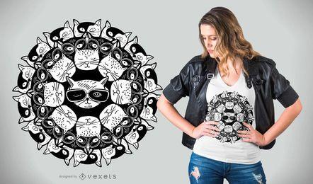 Design de t-shirt com mandala gatinho
