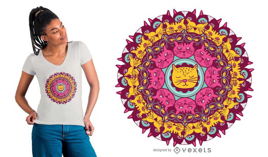 Design do t-shirt da mandala do gato