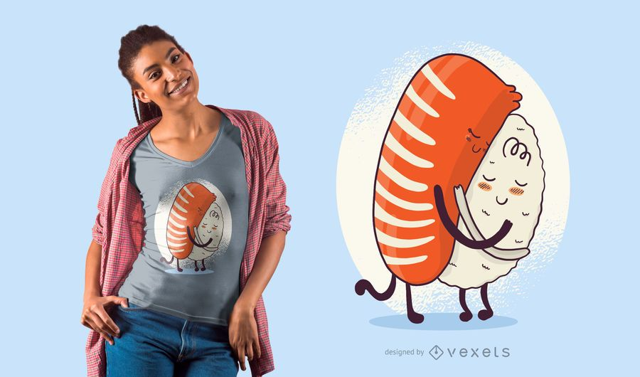 Diseño de camiseta de abrazo de sushi