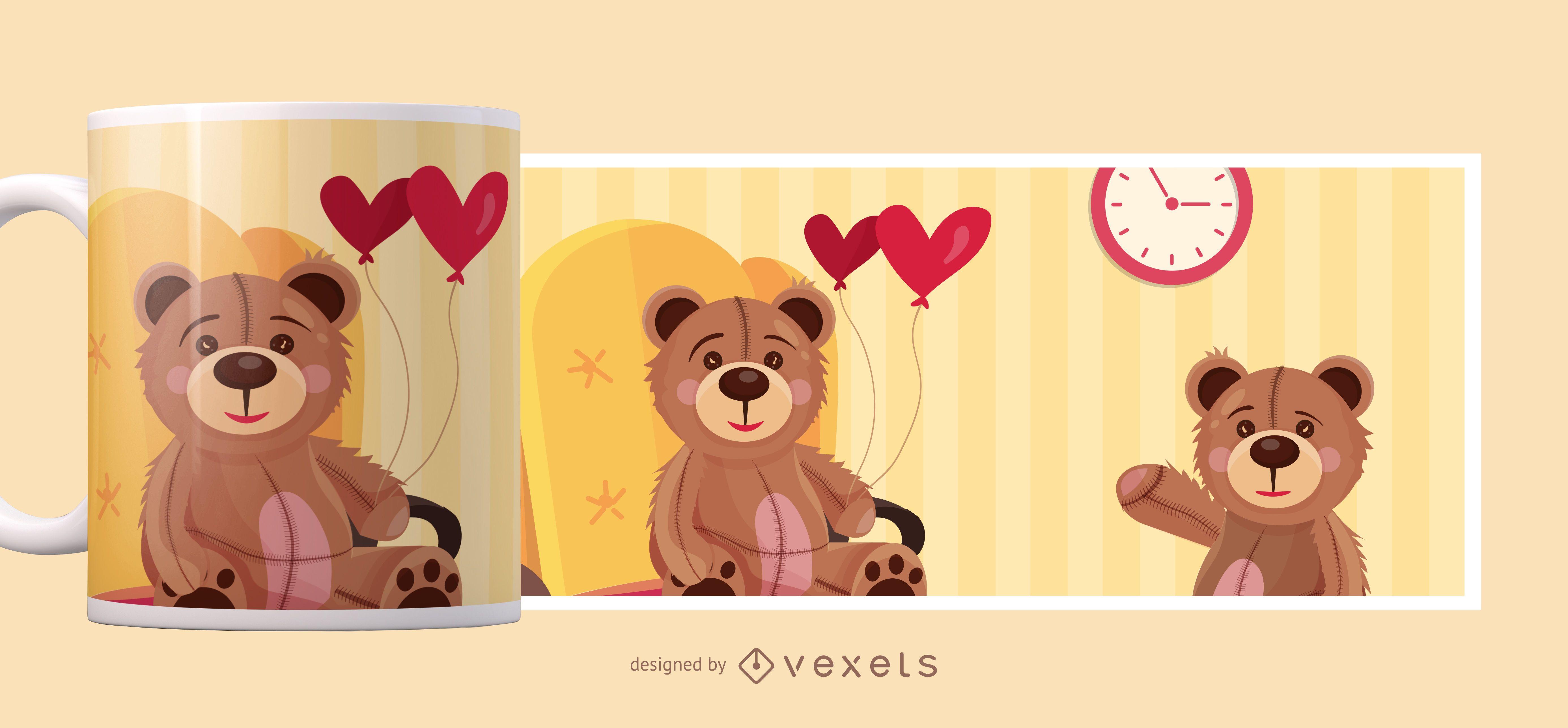 Diseño de taza de oso de peluche