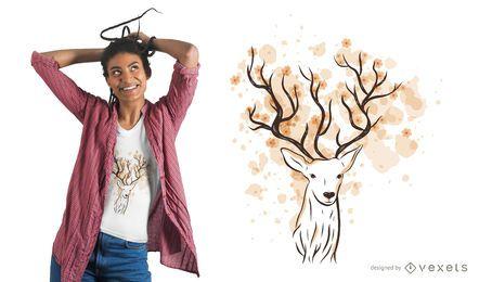 Projeto floral do t-shirt dos galhadas