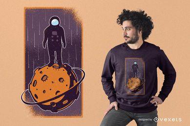 Diseño de camiseta de conquistador espacial