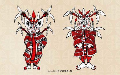 Conjunto de caracteres do Zodíaco Chinês