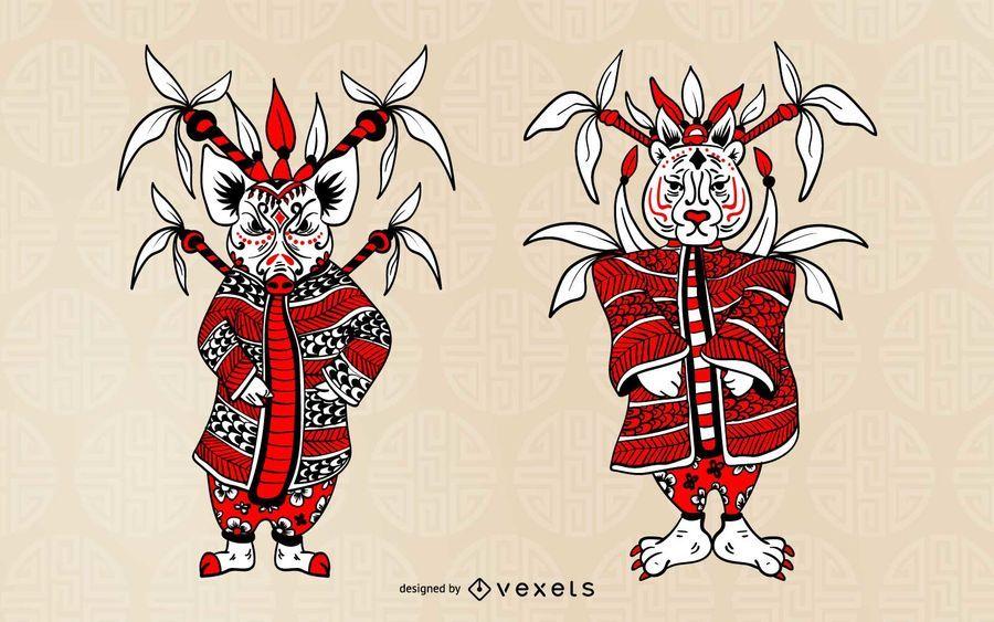 Conjunto de caracteres del zodiaco chino
