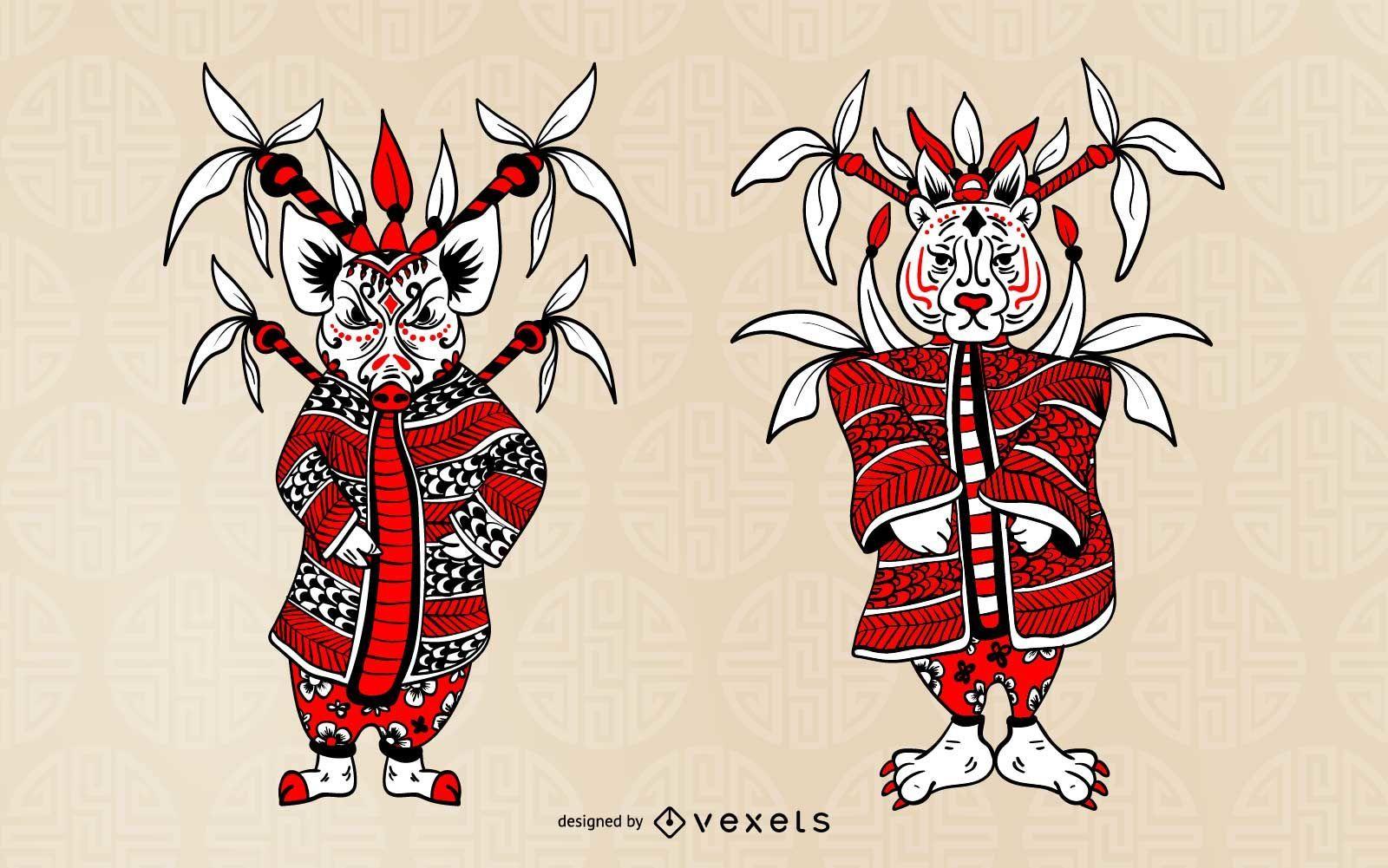 Chinese Zodiac Character Set