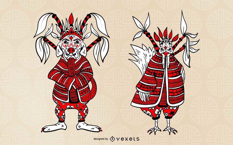 Conjunto de caracteres de perro y gallo chino