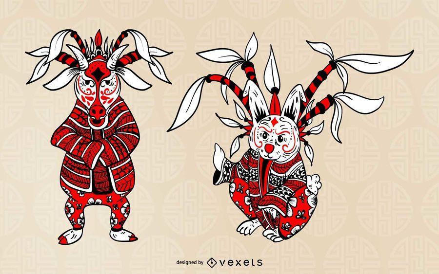 Conjunto de animales del zodiaco de la ópera china