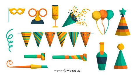 Conjunto de elementos de fiesta colorido