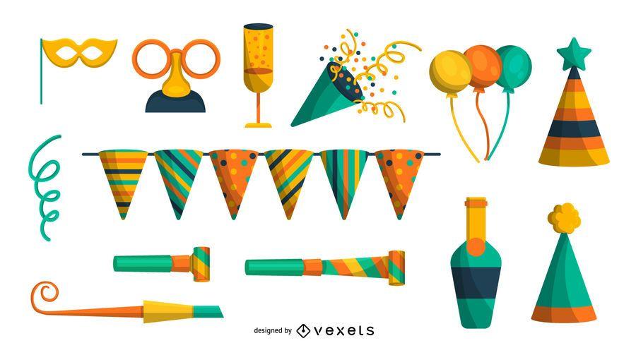 Conjunto de elementos de festa colorido