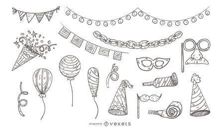 Conjunto de ícones de festa ilustrada