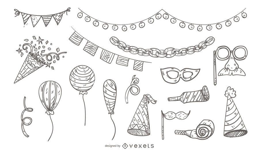 Illustriertes Party-Icon-Set