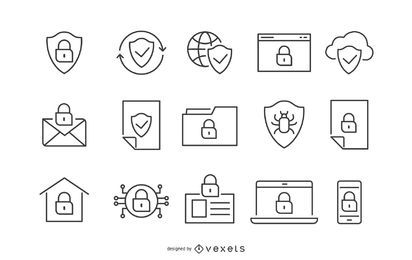 Security Stroke Icon Set