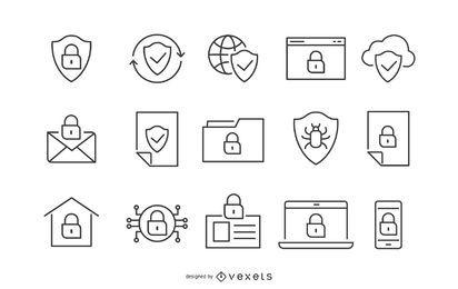 Sicherheitsanschlag-Icon-Set