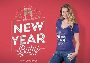 Design de t-shirt de bebê de ano novo